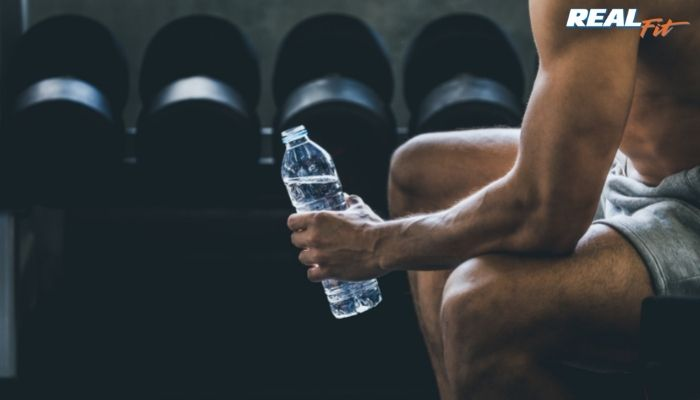 drinking water in gym